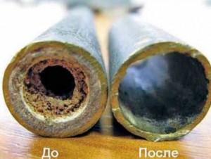Каналы радиатора до и после очистки